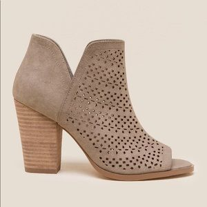 Restricted Winery Laser Cut Peep Toe Bootie